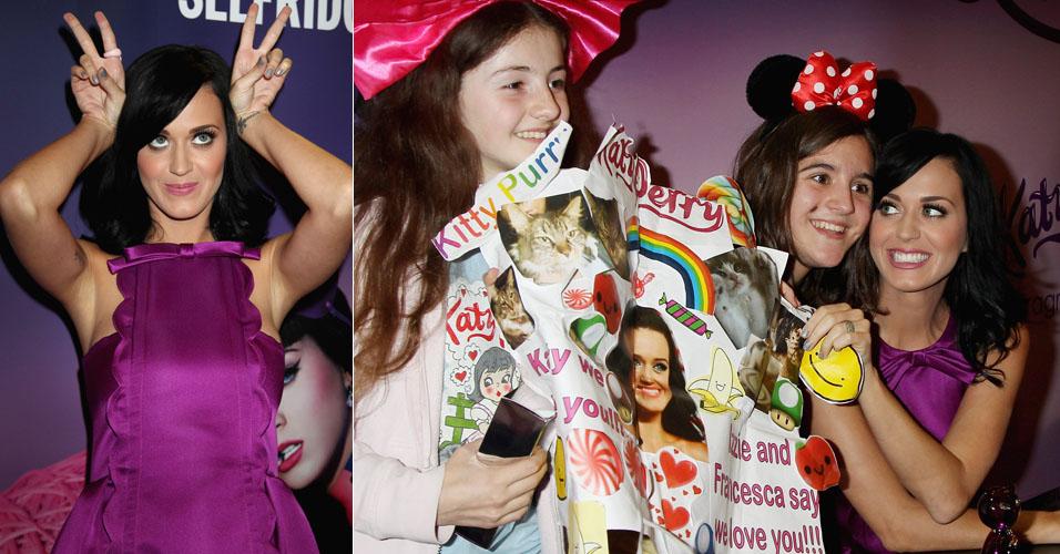 Katy Perry faz pose para foto e atende fãs durante lançamento de sua fragrância em Londres, Inglaterra (12/11). Katy se casou recentemente com o comediante Russell Brand, na Índia