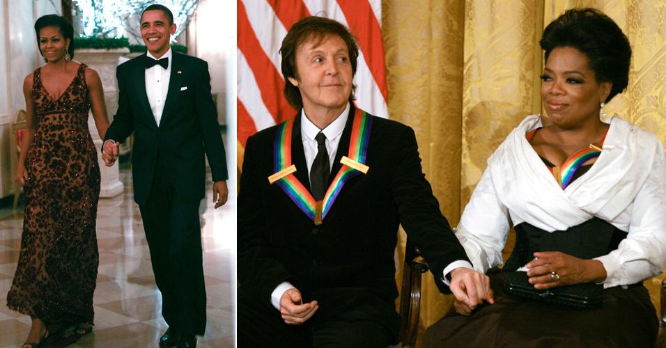Na primeira foto, o presidente Barack Obama e a mulher Michelle chegam à evento na Casa Branca para homenagear artistas, dentre eles Paul McCartney e Oprah (5/12). A homenagem é feita apenas a artistas e pessoas que fizeram grandes colaborações culturais