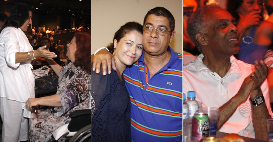 Zeca Pagodinho faz show no Citibank Hall do Rio de Janeiro na noite de sexta-feira (10) e é prestigiado por grandes nomes da música e da TV brasileira. Maria Rita, Beth Carvalho, Regina Casé e Gilberto Gil curtiram o samba de Zeca (10/12)