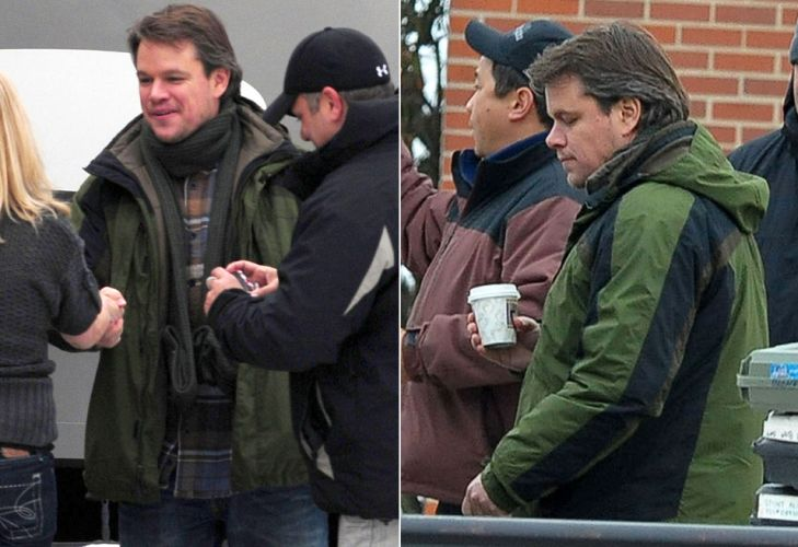 O ator Matt Damon  flagrado durante as filmagens do longa 