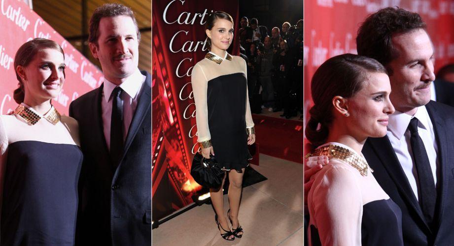 A atriz Natalie Portman opta por um vestido soltinho para a festa de premiação do Festival de Cinema de Palm Springs, na noite de sábado (8). A atriz foi acompanhada pelo diretor Darren Aronofsky, de