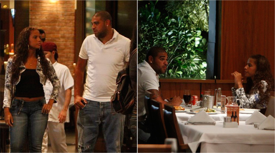 No Rio após rescindir o contrato com o time italiano Roma, o jogador Adriano sai para jantar com uma morena em churrascaria na Barra da Tijuca (14/3/2011). O atacante deixou a Roma na semana passada e estaria em negociação com alguns clubes para voltar ao Brasil