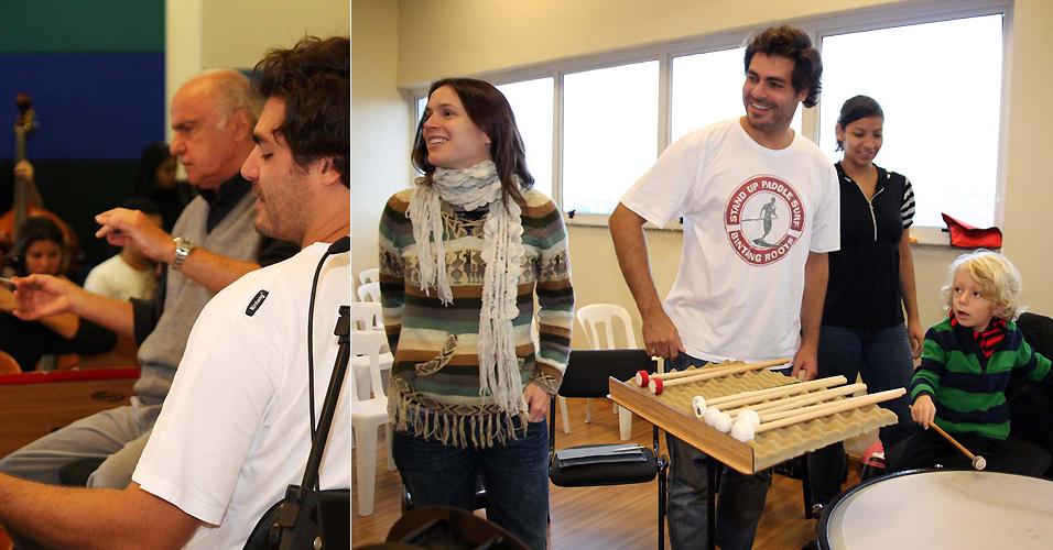 Acompanhado da mulher Vanessa Lóes e do filho Gael, o ator Thiago Lacerda participa de ensaio aberto da Orquestra Sinfônica de Heliópolis, em São Paulo (16/5). O ator será o narrador em uma apresentação da orquestra de