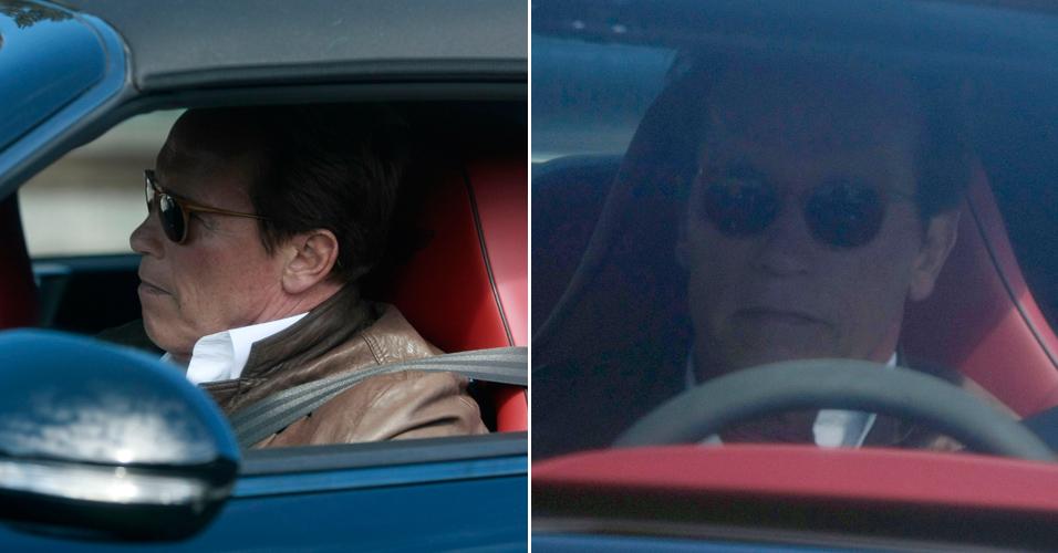 O ex-governador e ator Arnold Schwarzenegger é visto dirigindo na avenida Mildred, na Califórnia. Arnold e o seu guarda-costas deram uma volta pelo local, que tem o mesmo nome de sua amante, a empregada Mildred Baena. Recentemente ele assumiu que teve um filho fora do casamento (6/6)