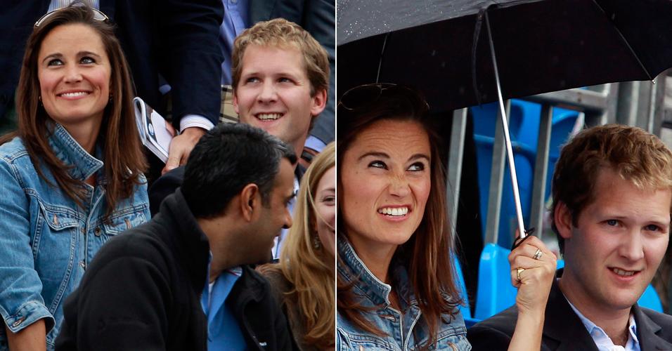 Pippa Middleton assiste partida de tênis do americano Andy Roddick contra o sul-africano Kevin Anderson, em Londres, nesta quinta-feira (9/6) e se diverte ao lado do ex-namorado George Percy. A empresária é irmã da duquesa de Cambridge Catherine Elizabeth, que recentemente se casou com o príncipe William