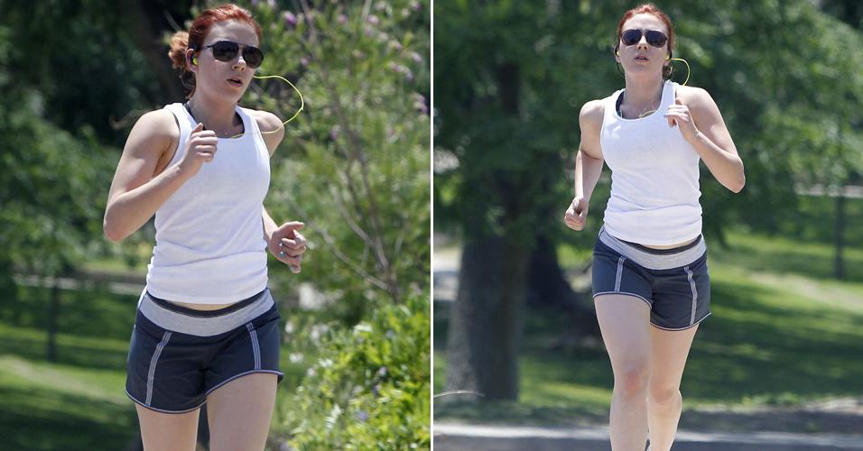 A atriz Scarlett Johansson se exercita no Novo México, onde está filmando o longa