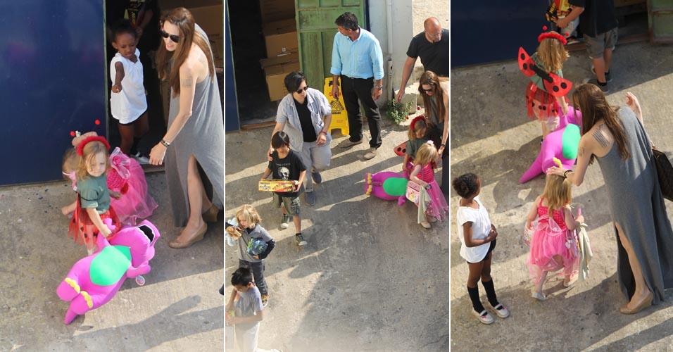 Angelina Jolie brinca com os filhos em Malta, onde o marido Brad Pitt está filmando