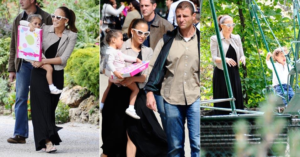 Cantora Jennifer Lopez aproveita tarde de sol junto com com a filha em parque em Paris (16/6/11)