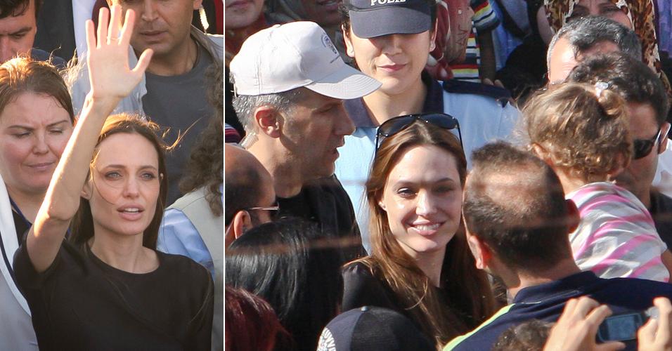 Angelina Jolie visita campo de refugiados Sírios na Turquia, nesta sexta-feira (17). A atriz é embaixadora da boa vontade da Agência da ONU para Refugiados (Acnur) (17/6/11)