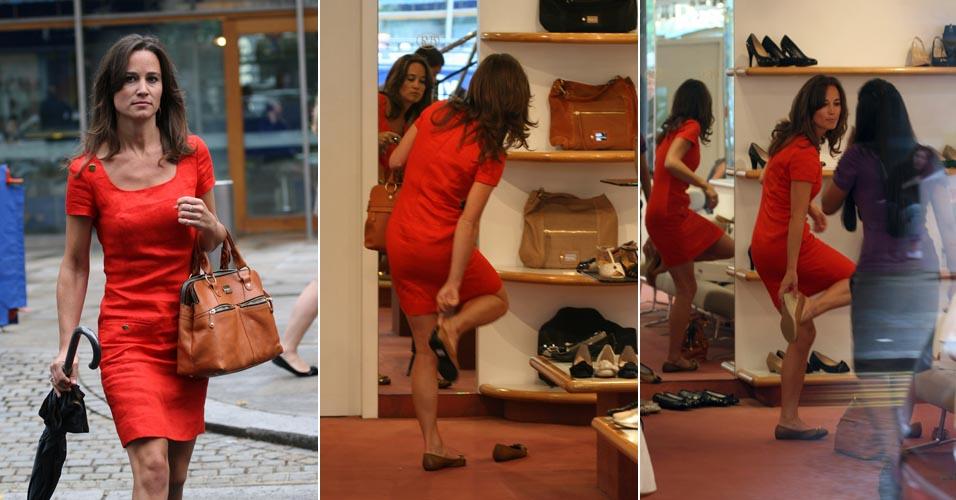 Pippa Middleton, irmã da duquesa de Cambrigde, Catherine, com um elegante vestido vermelho compra sapatos em Londres (28/6)