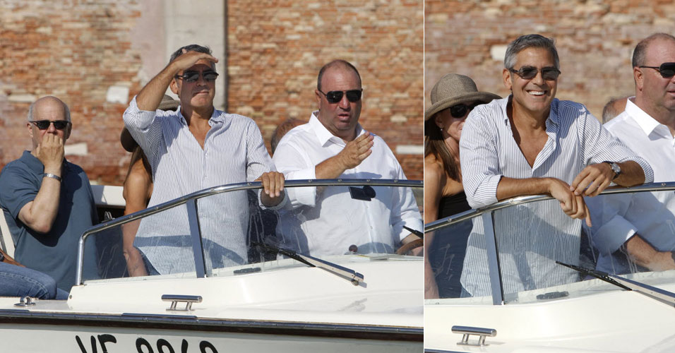 O ator George Clooney chega, a bordo de uma lancha, para a edio de 2011 do Festival de Veneza (30/8/2011). Seu filme 