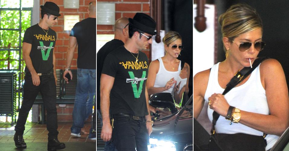 Justin Theroux, namorado de Jennifer Aniston, busca a atriz em sua aula de ioga, em Santa Mônica, nos Estados Unidos. Segundo algumas revistas, o casal pretende oficializar a união em dezembro (31/8)