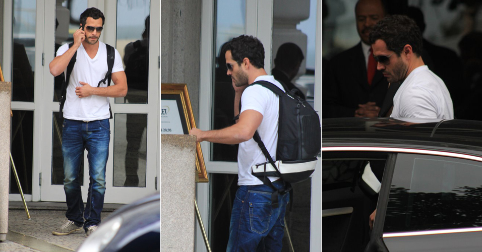 O ator Malvino Salvador é fotografado saindo do hotel Copacabana Palace, no Rio. Ele está no ar como o personagem Joaquim de