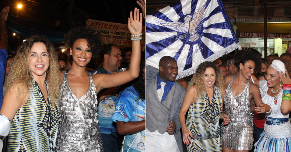 Daniela Mercury vai ao ensaio de rua da Portela com Sheron Menezes ...