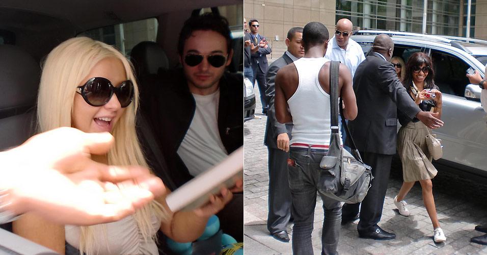 Ao lado do namorado, Matthew Rutler, Christina Aguilera sorri ao receber o presente de um fã do lado de fora de seu hotel em São Paulo (1/2/2011)