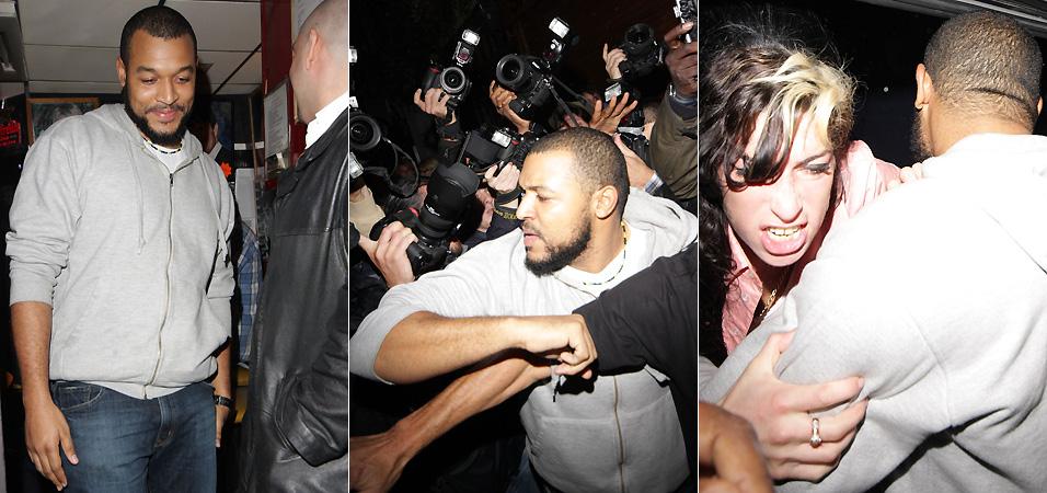 Segurança do bar onde Amy Winehouse se apresenta sai calmamente do local. O rapaz é um dos responsáveis por segurar Amy durante seu ataque de fúria (17/9/2009)