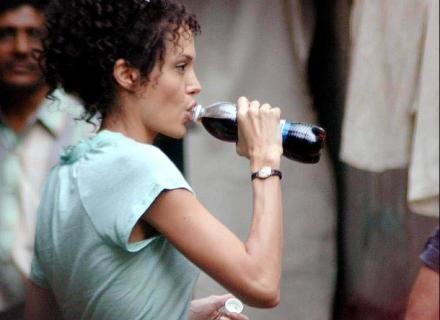 Angelina durante as filmagens de