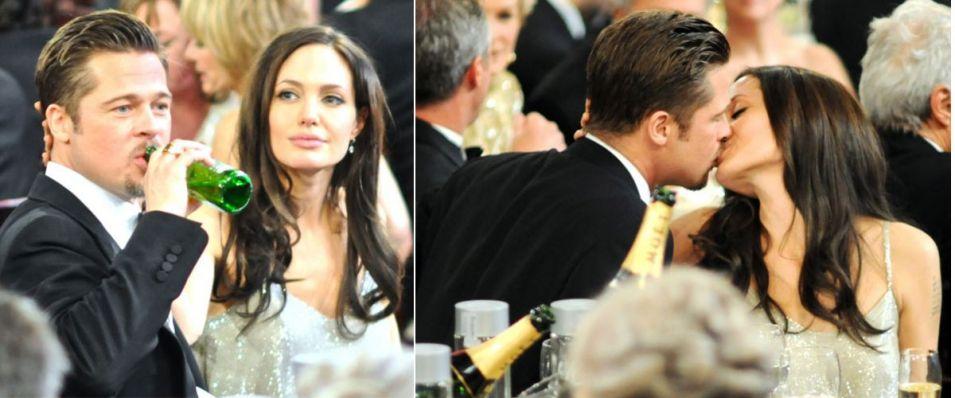 Brad Pitt toma cerveja diretamente da garrafa, enquanto comemora o Globo de Ouro ao lado de Angelina Jolie, em jantar de gala no Sunset Tower Hotel, em Beverly Hills, na Califórnia. Nenhum dos dois foi premiado este ano (11/1/09)