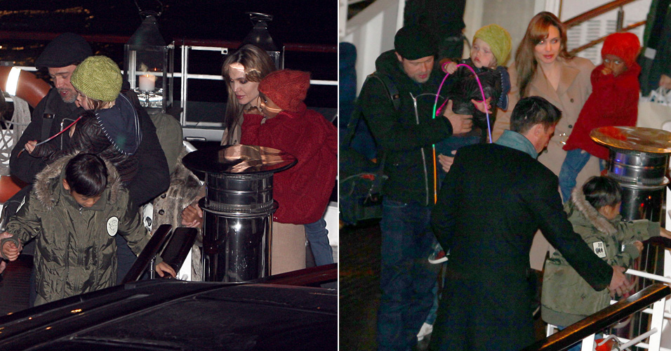 Angelina Jolie, Brad Pitt e as filhas Zahara e Shiloh (no colo) e os filhos Pax e Maddox comemoraram o sétimo aniversário de Pax passeando de balão em Paris (28/11/2010). O casal levou os filhos de barco e deixou os gêmeos Vivienne e Knox em casa