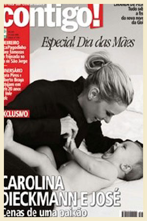 Carolina Dieckmann fez um ensaio em preto-e-branco com o caçula José. As fotos saíram no Dia das Mães de 2008, com exclusividade na revista