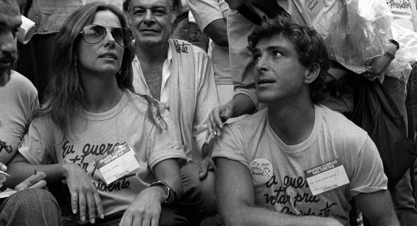 Na campanha pelas Diretas Já, em 1984, ao lado de Ricelli, com quem é casada há 27 anos