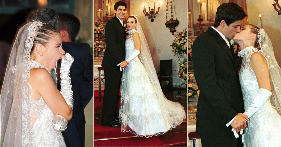 No papel de Camila, Carolina Dieckmann boceja enquanto aguarda a gravação da cena em que se casa com Edu (Reynaldo Gianecchini) na novela