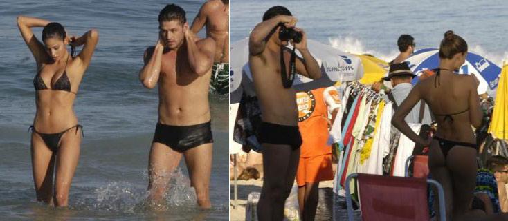 Dado Dolabella fotografa e aproveita praia do Rio de Janeiro com uma amiga (7/7/2007)
