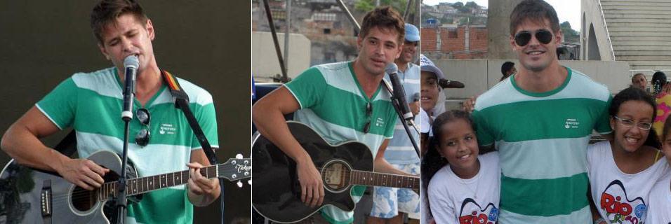 Dado Dolabella toca para milhares de crianças em evento beneficente na praça da Apoteose, no Rio de Janeiro (11/11/2007). Depois do show, o cantor posou com crianças do projeto Rio Sou Criança