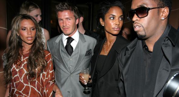 O casal Beckham na noite londrina com os amigos Jodie Kidd, P Diddy (20/05/06)