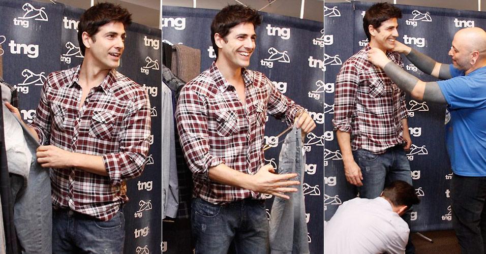O ator Reynaldo Gianecchini faz a prova de roupas para o desfile que fará para a marca TNG no Fashion Rio na quinta (13). Gianecchini desfilará ao lado de sua companheira de novela Mayana Moura (11/1/2011)