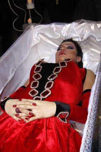 Dentro de um caixão, Gracyanne Barbosa chega para sua festa de aniversário em uma boate no Rio de Janeiro (20/9/11)