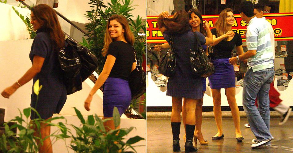 As atrizes Dira Paes e Grazi Massafera se encontram com os atores Ana Lima e Marcius Melhem em um shopping no Rio de Janeiro (2/4/2010)