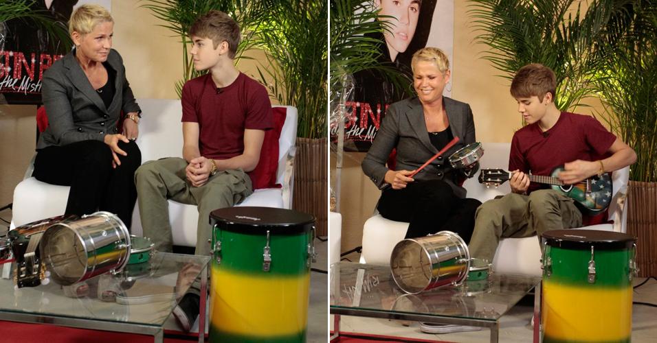 Justin Bieber dá entrevista para Xuxa, nos camarins do Engenhão, no Rio, antes de se apresentar pela primeira vez no Brasil, na tarde desta quarta-feira (5/10/11). A entrevista vai ser exibida no