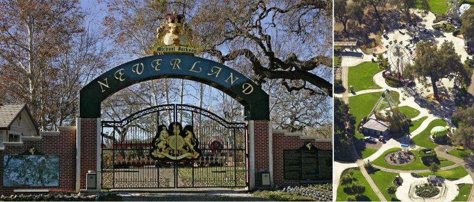 A propriedade comprada pelo cantor, batizada de Neverland, onde construiu um parque de diversões e um zoológico (1988)