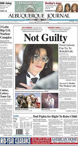 Depois de 14 semanas de julgamento, o júri de Santa Maria declara Michael Jackson inocente das acusações de abuso sexual. A notícia foi primeira página de jornais do mundo inteiro (14/6/05)