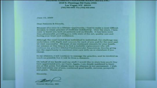 Carta enviada pelo Dr. Conrad Murray a seus pacientes avisando que deixaria temporariamente a clínica para ter
