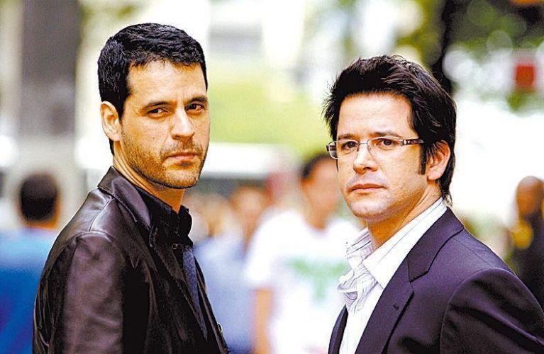 Bruno Garcia e Murilo Benício durante gravação de cena da novela