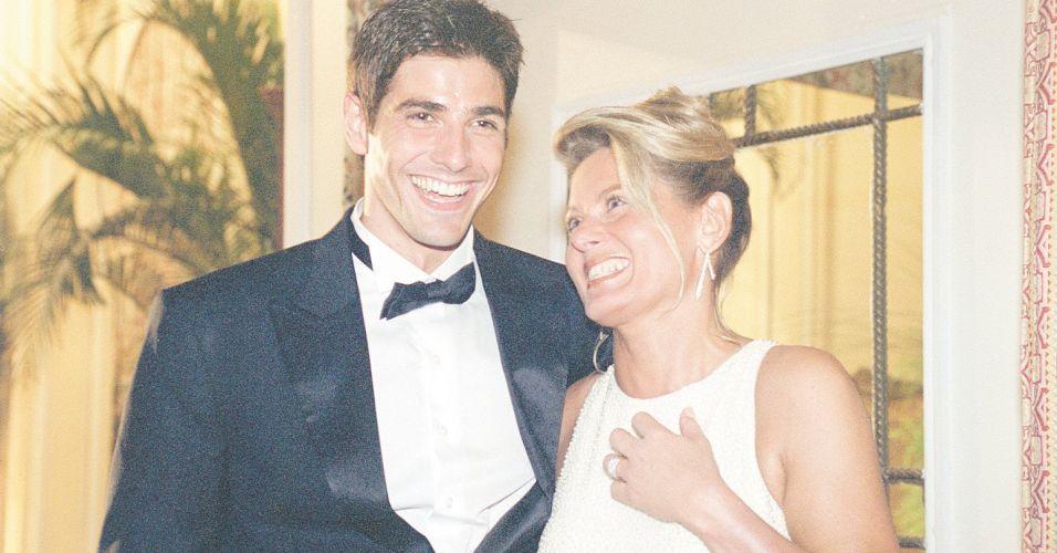 Reynaldo Gianecchini (Edu) e Vera Fischer (Helena) durante gravação da novela