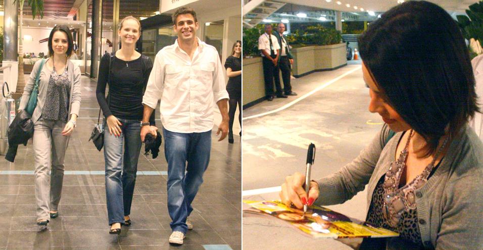 Sandy passeia e janta com o casal de amigos Fernanda Rodrigues e Raoni Carneiro em um shopping carioca e dá autógrafos para fãs (13/8/2010)