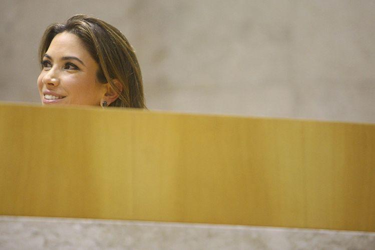Apresentadora Patrícia Abravanel em homenagem ao SBT na Câmara Municipal de São Paulo (26/09/2011)