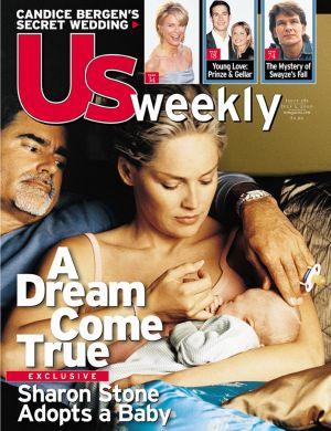 Sharon quando adotou o filho, Roan Joseph Bronstein, foi capa de revista (jun/00)