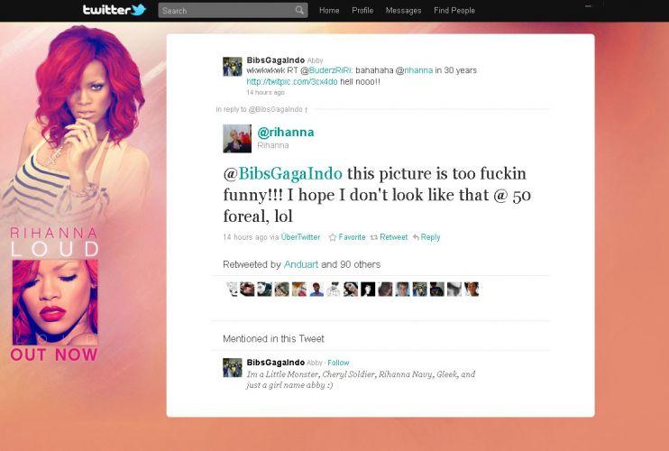 A cantora Rihanna recebe no Twitter uma montagem de uma foto com a cantora Alcione na capa do seu álbum