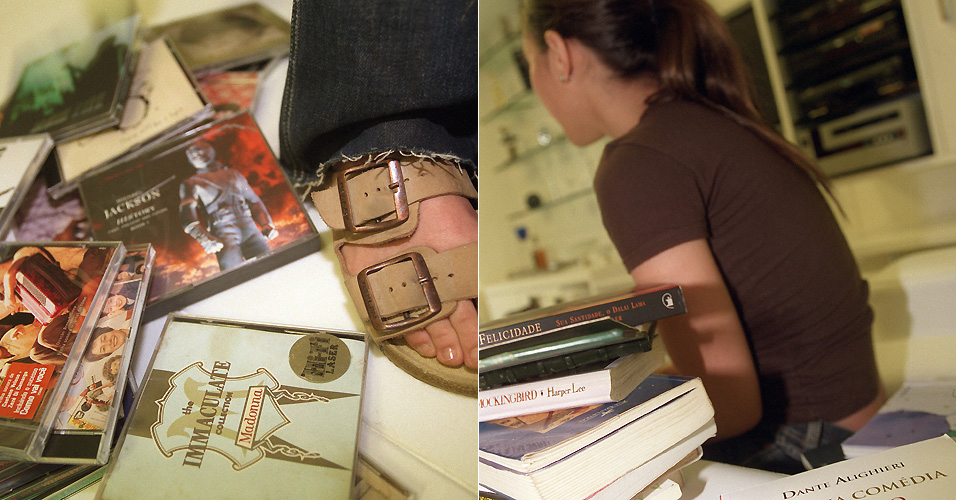 CDs e livros que servem de referência para Wanessa Camargo: Michael Jackson, Bruce Springsteen, Dante Alighieri e Gabriel Garcia Marquez dividem o espaço da da cantora em escritório (8/9/2005)