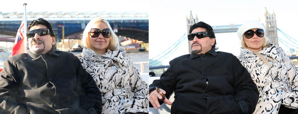 O ex-jogador Diego Maradona e a namorada Veronica Ojeda passeiam de barco e curtem as atrações turísticas de Londres a caminho da 02 Arena. O casal seguia para o local para assistir à final de um torneio mundial de tênis (26/11)