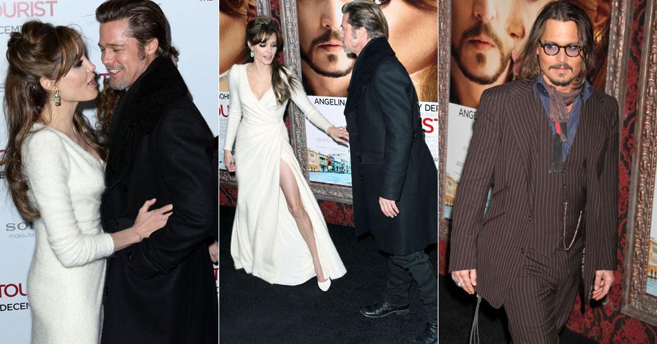 Angelina Jolie e Brad Pitt chamam a atenção durante première de