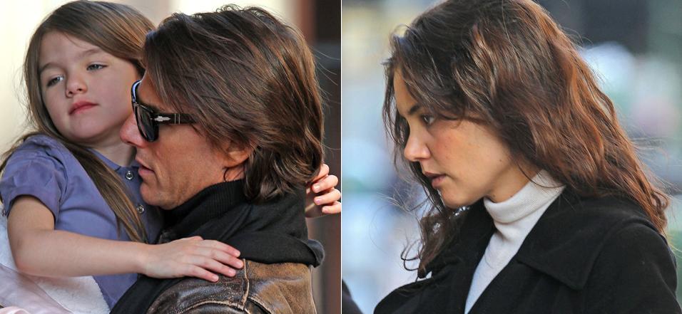 Tom Cruise, Suri e Katie Holmes caminham pelas ruas de Manhattan no sábado (18). A família seguia para seu apartamento (18/12)