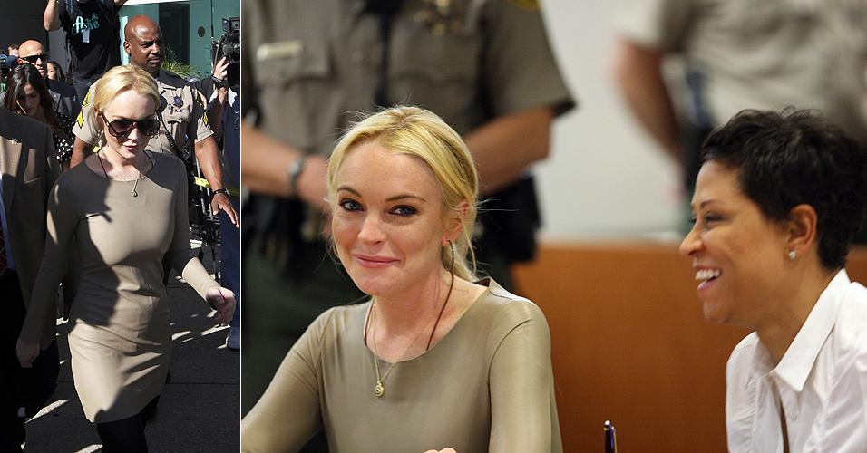 Lindsay Lohan ri ao lado de sua advogada, Shawn Chapman Holley, ao depor na corte de Los Angeles sobre suposto furto de um colar (10/3). Lohan rejeitou o pedido de acordo oferecido pelos promotores, que envolvia três meses na prisão, caso se considerasse culpada. O julgamento foi adiado para dia 25 de março, quando a atriz terá de decidir se aceita a proposta ou se declara-se inocente, culpando outra pessoa pelo furto