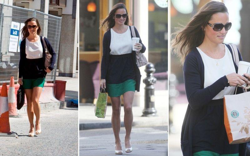 Pippa Middleton, irmã da duquesa Catherine, é fotografada a caminho do trabalho, em Londres, na Inglaterra. A moça aproveita o trajeto para comprar o lanchinho (25/5/2011)