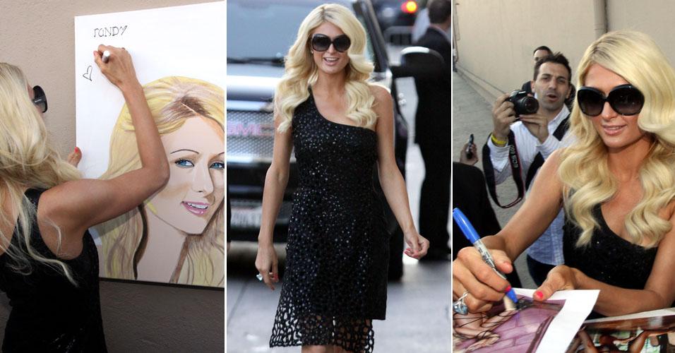 A socialite Paris Hilton dá autógrafos para os fãs ao chegar ao programa Jimmy Kimmel em Hollywood, na Califórnia (8/6/11)