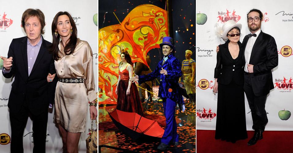 Paul McCartney e a namorada Nancy Shevell encontram Yoko Ono e Sean Lennon no espetáculo do Cirque du Soleil